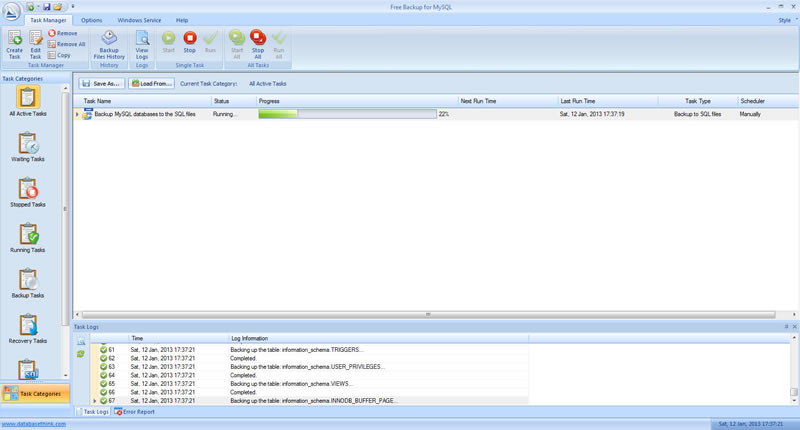 Click to view Free Backup for MySQL screenshots
