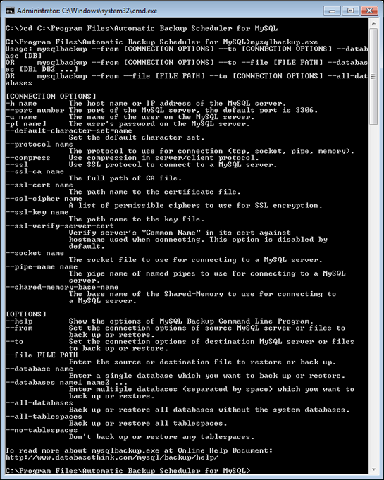MySQL Backup Command Line Program