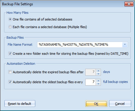 Backup File Settings